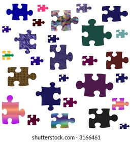 assorted color and texture puzzle pieces on white