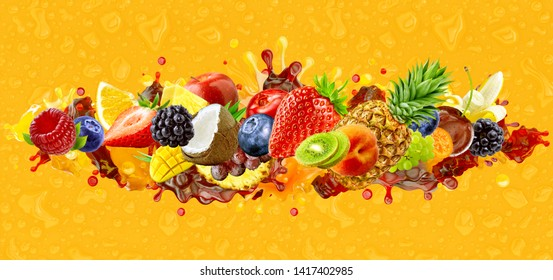 Assorted healthy fresh fruits berries colorful mix. Creative wide layout collage of forest fruits, citrus, berries exotic tropical fruits assortment, juice blend 3D splashes on juice drops background.