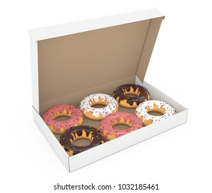 Assorted Sweet Donuts in a Paper Cardboard Box on a white background. 3d Rendering