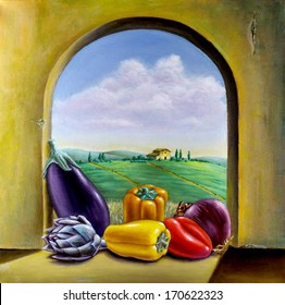 Assorted vegetables on a window overlooking a country landscape. Original oil painting on canvas.
