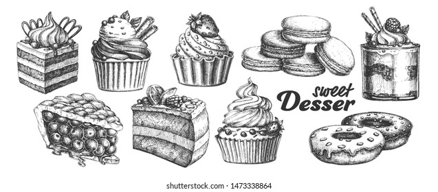Assortment Baked Sweet Dessert Set Vintage . Chocolate And Fruit Cakes, Macaroons And Donuts, Berries Pie And Creamy Caseous Dessert Concept. Designed Template Black And White Illustrations