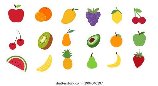 Assortment of different fruits and berries, flat lay, apple, strawberry, pomegranate, mango, avocado, orange, kiwi isolated on white background.