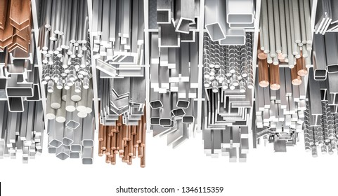 Assortment of different metal profiles , square, circular, angular profiles in iron, steel, aluminum, copper and brass, 3d rendered image.