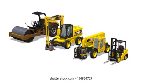 An assortment of heavy machinery including a road roller, excavator, telehandler and forklift - 3D render.