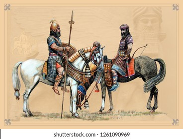 Assyrian riders. Handmade historical illustration.