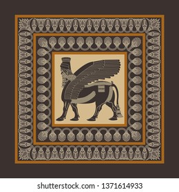 Assyrian Winged lion scarf pattern design