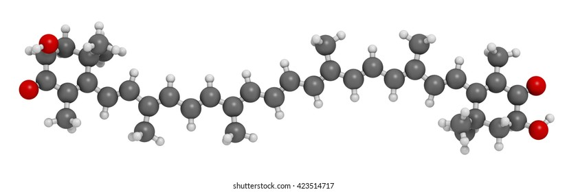 Astaxanthin pigment molecule. 3D rendering.  Carotenoid responsible for the pink-red color of salmon, lobsters and shrimps. Used as food dye (E161j) and antioxidant food supplement.
