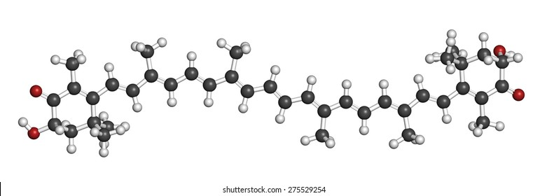 Astaxanthin pigment molecule. Carotenoid responsible for the pink-red color of salmon, lobsters and shrimps. Used as food dye (E161j) and antioxidant food supplement. Atoms are represented as spheres.