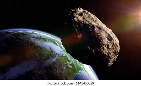 asteroid approaching planet Earth, meteorite in orbit before impact  (3d space illustration, elements of this image are furnished by NASA)