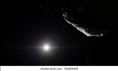 Asteroid in asteroid belt (Elements of this image furnished by NASA)