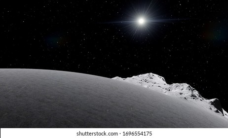 asteroid in deep space, comet in the solar system, comet surface, solar system 3d render