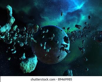 Asteroid field and Nebula