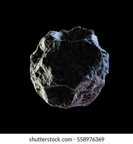 Asteroid rock isolated black background 3d illustration