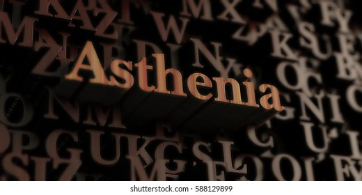 Asthenia - Wooden 3D rendered letters/message.  Can be used for an online banner ad or a print postcard.