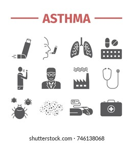 Asthma Symptoms and Symbols. Asthma icons. Flat set