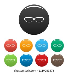 Astigmatic spectacles icon. Simple illustration of astigmatic spectacles icons set color isolated on white