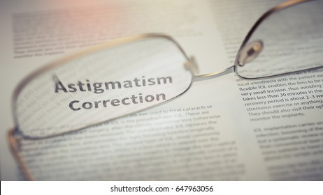 Astigmatism Correction Article Title Highlighted Through Eyeglasses Closeup. Vision Surgery Concept 3d Illustration