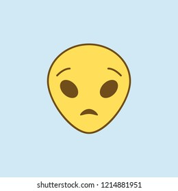 astonished extraterrestrial 2 colored line icon. Simple yellow and brown element illustration. astonished extraterrestrial concept outline symbol design from emoji set