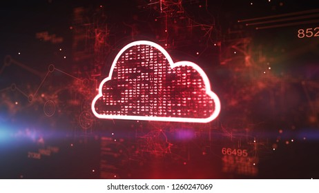 Astonishing 3d illustration of a red cyberspace cloud cpu with gleaming pixels in the dark purple background. It has 852 and a dazzling network of zigzag and twisting stripes.