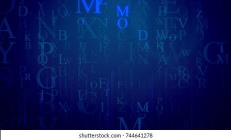 An astonishing 3d rendering of falling Latin letters in the dark blue background with a grid. The most frequent are M, O, P. They shine a bit. All of them hush some info and need decoding.