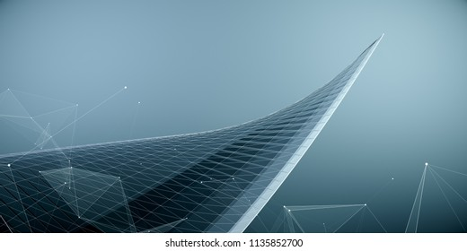 astract geometric lines and triangles at grey background. 3d rendering