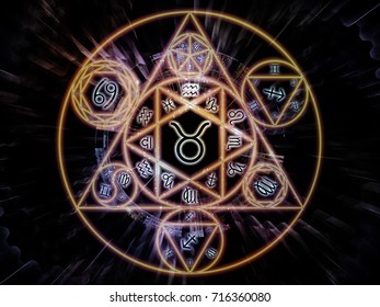 Astral Connection series. Backdrop composed of Zodiac and fractal geometry symbols and suitable for use in the projects on magic, sacred, occult and astrology