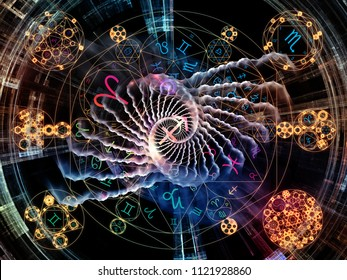 Astral Connection series. Backdrop design of Zodiac and fractal geometry symbols for works on magic, sacred, occult and astrology