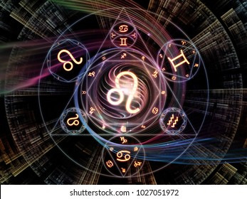 Astral Connection series. Background design of Zodiac and fractal geometry symbols on the subject of magic, sacred, occult and astrology