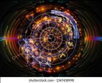 Astral Glow series. Arrangement of sacred geometry lines, astrology symbols and lights on the subject of spirituality, magic and mysticism