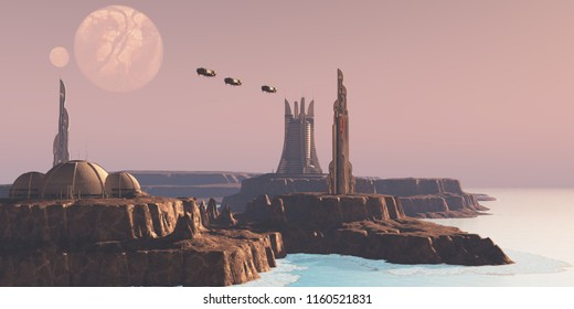 Astral Sector Planet 3D illustration - Shuttles take people to different buildings on an alien world full of advanced architecture.