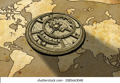 Astrolabe on Old Map