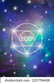 Astrological New Year 2019 Greeting Card or Calendar Cover on Cosmic Background with Interlocking Circles, Triangles and Particles.