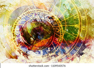 astrological symbol Zodiac and vintage pocket watch. Abstract color background. Computer collage.