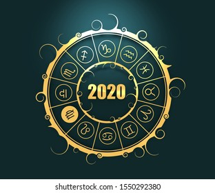 Astrological symbols in the circle. Virgo sign. New Year and Christmas celebration card template. Zodiac circle with 2020 new year number. 3D rendering