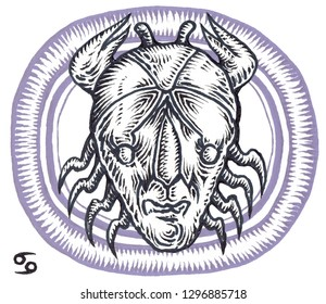 Astrological Zodiac sign  Cancer. Horoscope graphic illustration . Retro Clip Art . (style of ancient engravings). 4 Sign of the zodiac Cancer .