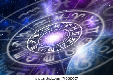 Astrological zodiac signs inside of horoscope circle on universe background - astrology and horoscopes concept. 3D illustration.