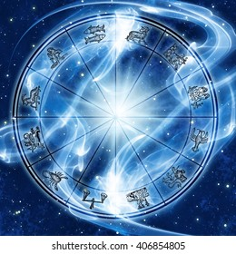 astrology chart in space with lights and flare