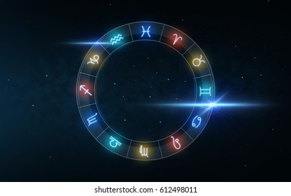 astrology and horoscope - signs of zodiac over night sky and stars dark night sky background