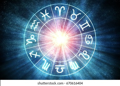 Astrology and horoscopes concept. Zodiac signs in circle. 3D rendered illustration.