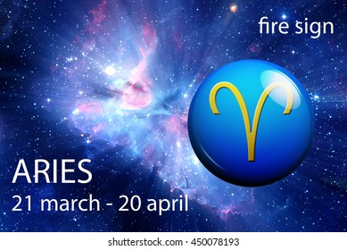 astrology sign of Aries with indication of date and group it belongs: fire
