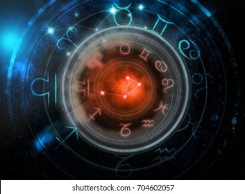astrology signs on dark space background