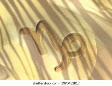 Astrology symbol drawn on sand - Capricorn. 3D illustration