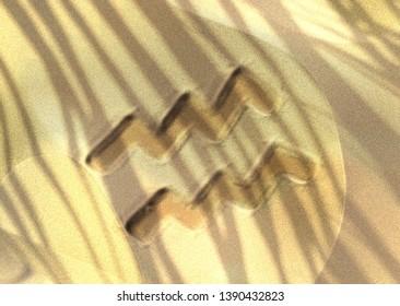 Astrology symbol drawn on sand - Aquarius. 3D illustration