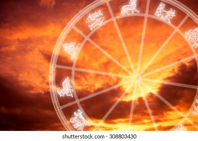 astrology wheel with signs symbols