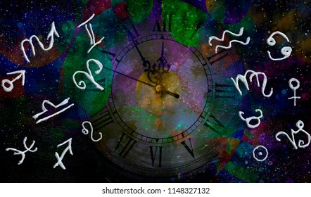 Astrology zodiac signs in space