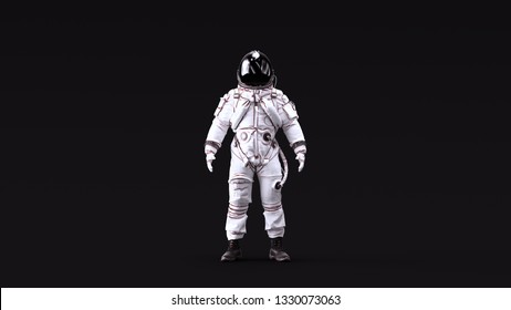 Astronaut Advanced Crew Escape Suit with Black Visor and White Spacesuit with Neutral White lighting Front 3d