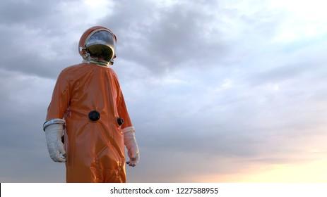 astronaut against a cloudy sky, 3d illustration
