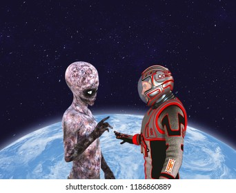 Astronaut and alien encounter, in front of Planet Earth. Elements of this image furnished by NASA. 3D rendering.