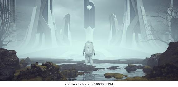 Astronaut Alien Landscape near a Foggy Abandoned Utopian Style Architecture in the Distance 3d illustration render