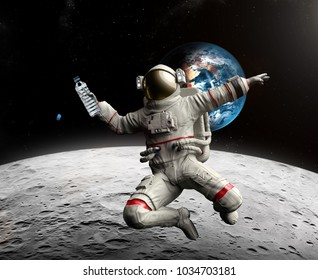 Astronaut with bottle of water in Space - Discovery of water on the Moon, 3d illustration